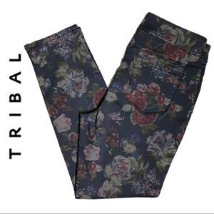 NWT Tribal Floral Denim pant with front zipper